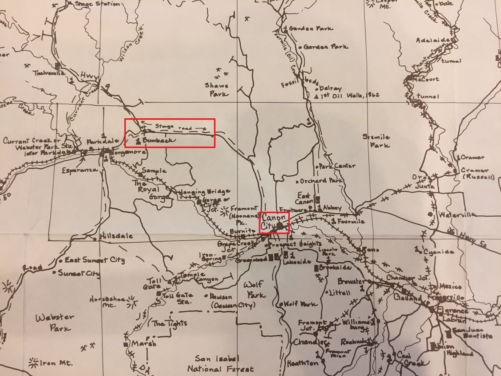 """Location of Bumback Springs on """"Historical Map of Fremont County"""" by Nancy C. Hirleman; Royal Gorge Regional Museum & History Center archive"""