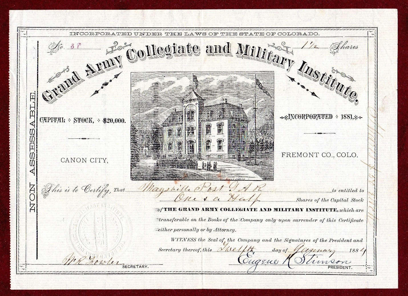 Photocopy of a stock certificate that was issued for the Colorado Collegiate & Military Academy, 1884. Object ID: 2012.031.001
